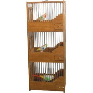 Ξύλινο κλουβί τριόροφο 1015